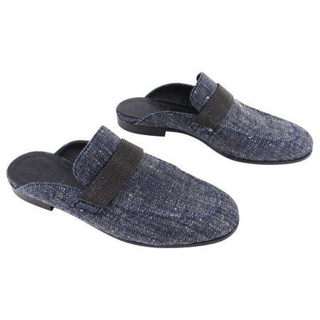 Brunello Cucinelli Blue Denim Monili Trim Loafer Mules - 37