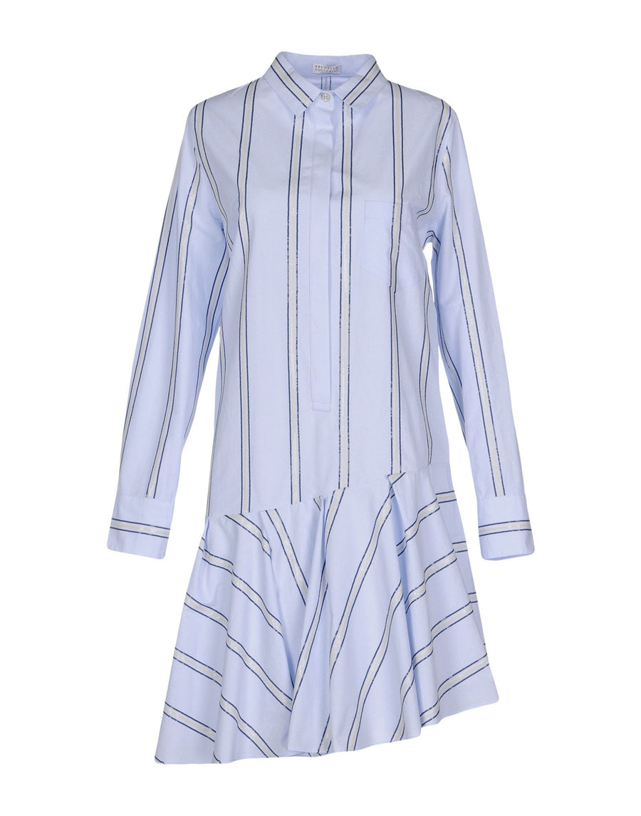 Brunello Cucinelli Light Blue Cotton Striped Shirt Dress - 8
