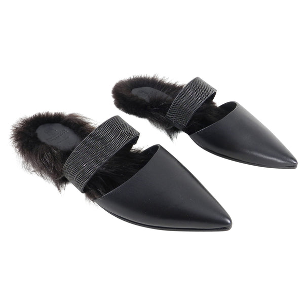 Brunello Cucinelli Monili Fur Trimmed Flat Slides - 37
