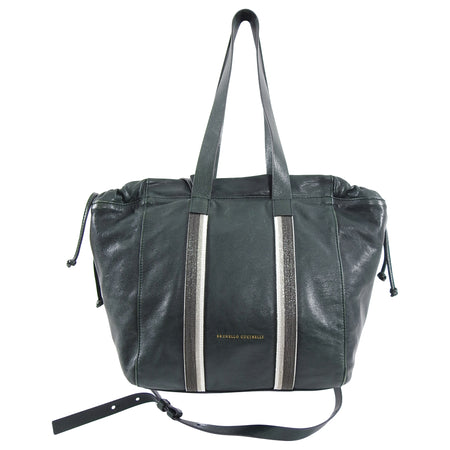 Brunello Cucinelli Dark Green Leather Satchel Crossbody Bag