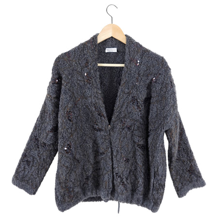 Brunello Cucinelli Grey Chunky Sequin Knit Cardigan Sweater - XS / S