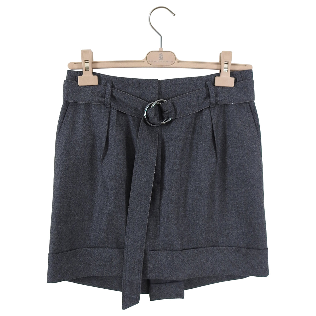 Brunello Cucinelli Grey Wool Short Skirt with Monili Bead Belt - S