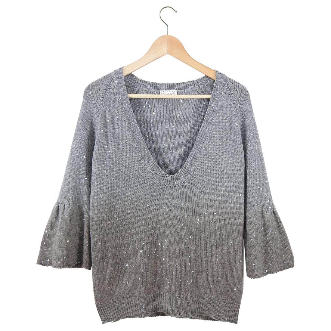 Brunello Cucinelli Grey Cashmere Sequin Ombre V-neck Sweater - L (8/10)