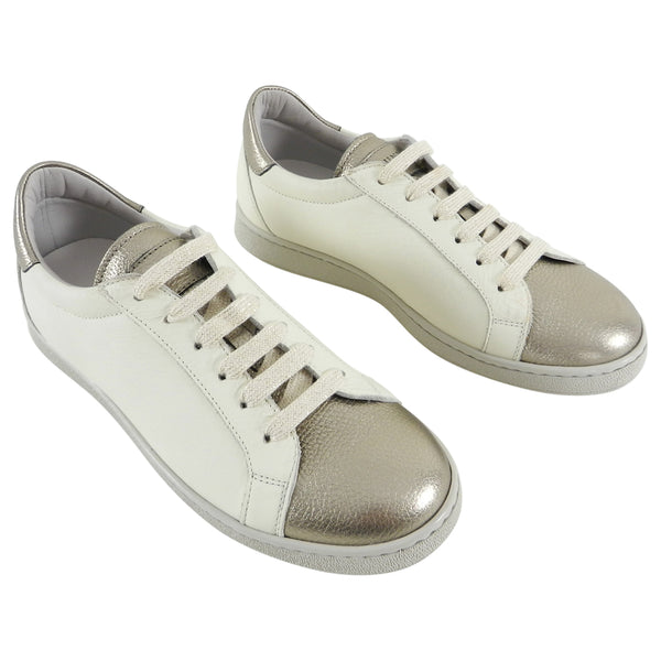 Brunello Cucinelli Ivory and Pewter Metallic Low Sneakers - 37