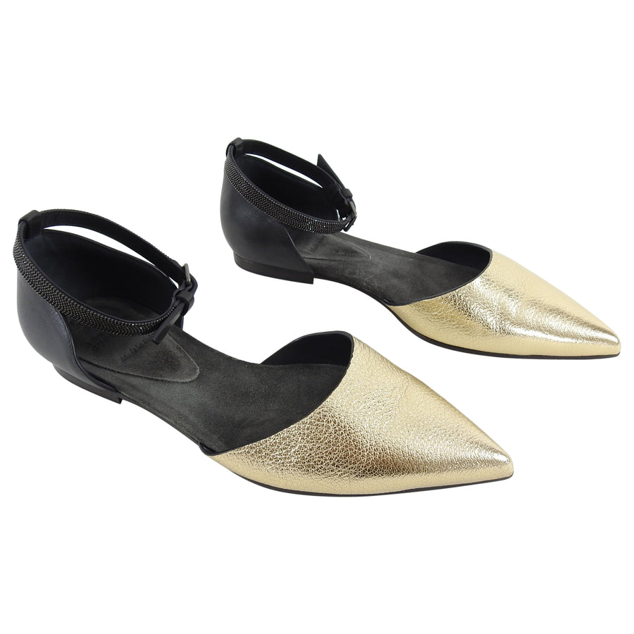 Brunello Cucinelli Gold Pointy Toe Monili D'Orsay Flat Shoes - 6