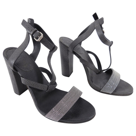 Brunello Cucinelli Grey Bock Heel Monili Sandals - 40 / 9.5
