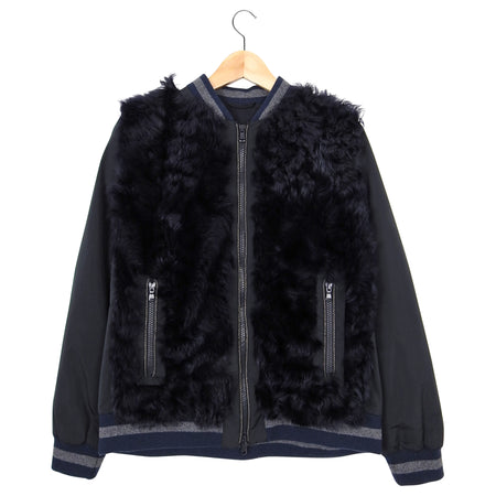 Brunello Cucinelli Navy Curly Lamb Fur Bomber Jacket