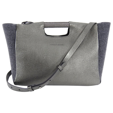 Brunello Cucinelli Grey Monili Bead Trim Small Tote Crossbody
