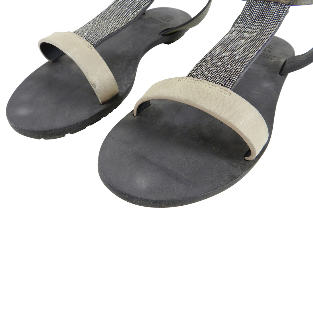 Brunello Cucinelli Flat Sandals with Bead Detail - 37