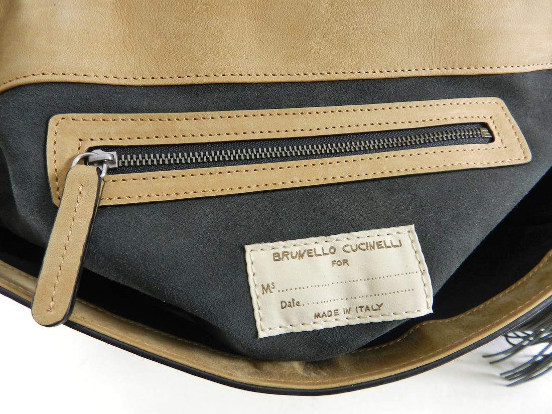 Brunello Cucinelli Light Tan Nubuck Crossbody Bag