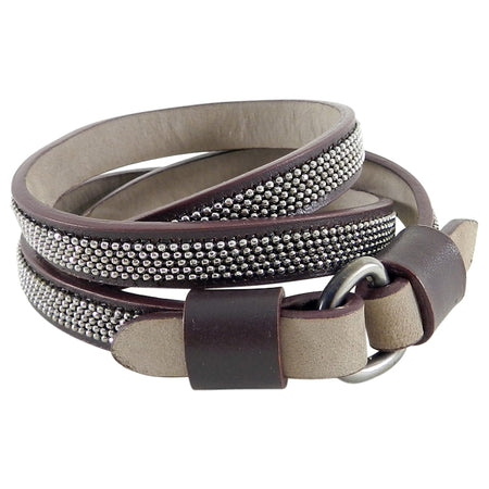 Brunello Cucinelli Burgundy Leather Beaded Wrap Bracelet