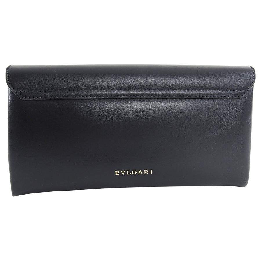 Bulgari Cocktail Serpenti Enamel Snake Black Leather Clutch Bag