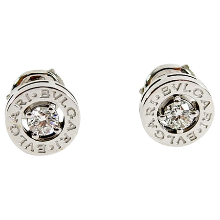Bulgari Bvlgari 18K White Gold Diamond Logo Stud Earrings