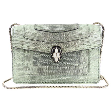 Bulgari Mini Metallic Green Serpenti Forever Crossbody Bag