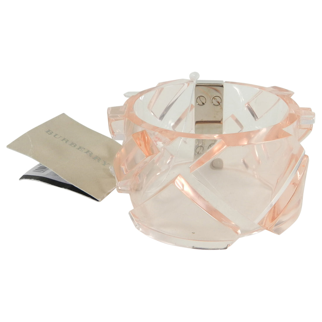 Burberry Pink Clear Acrylic Wide Cuff Bracelet