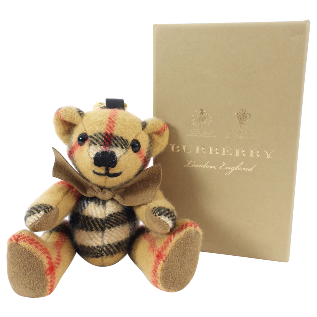 Burberry Thomas Nova Check Cashmere Bear Bag Charm / Key Ring
