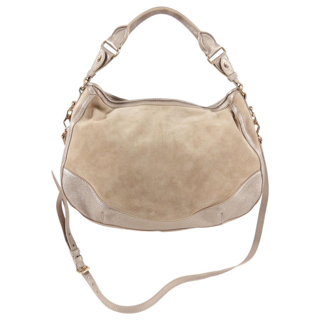 Burberry Light Beige Suede and Leather Hobo Bag