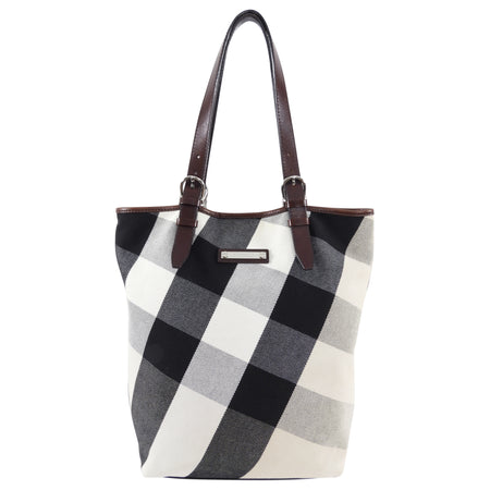 Burberry Canvas Giant Check Tote bag with Brown Leather Trim