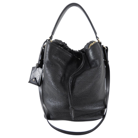 Burberry Medium Black Grained Leather Ashby Hobo Bag