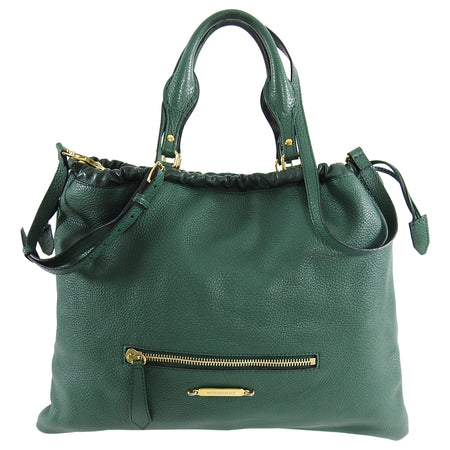 Burberry Green Large Leather Tote Bag with Shoulder Strap