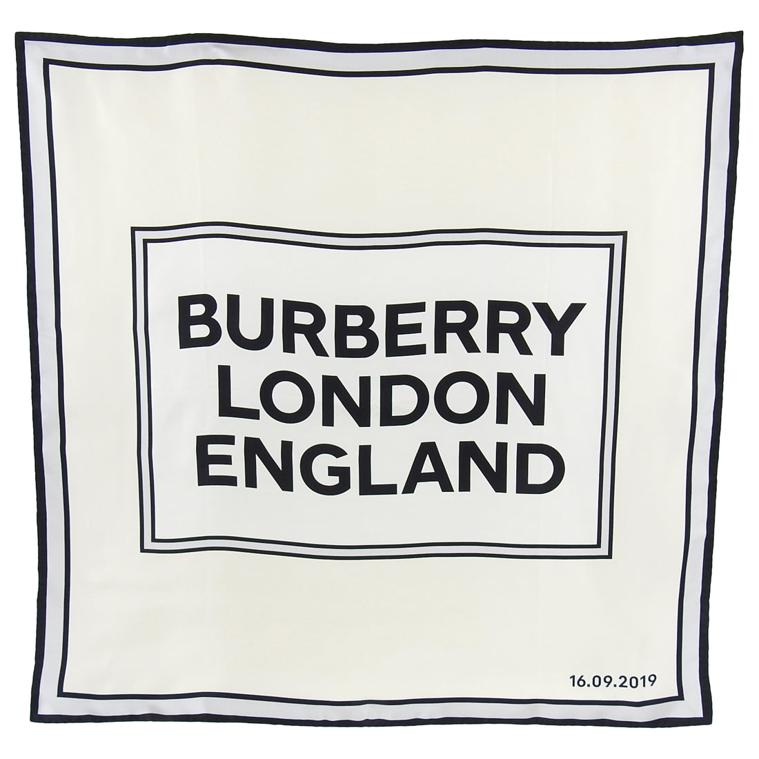 Burberry London Grey Silk 90cm Logo Runway Show Attendee Scarf