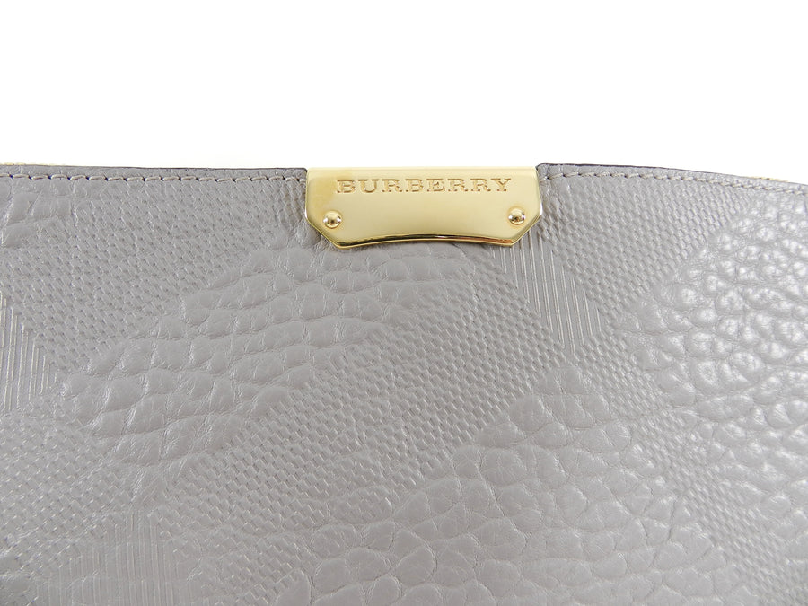 Burberry Grey Peyton Embossed Check Crossbody Bag