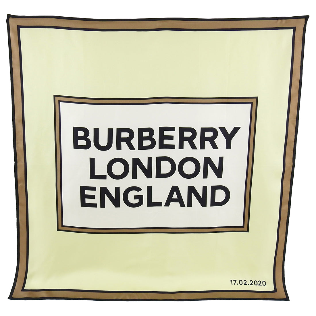 Burberry London Mint Green and Brown Silk 90cm Logo Runway Show Attendee Scarf