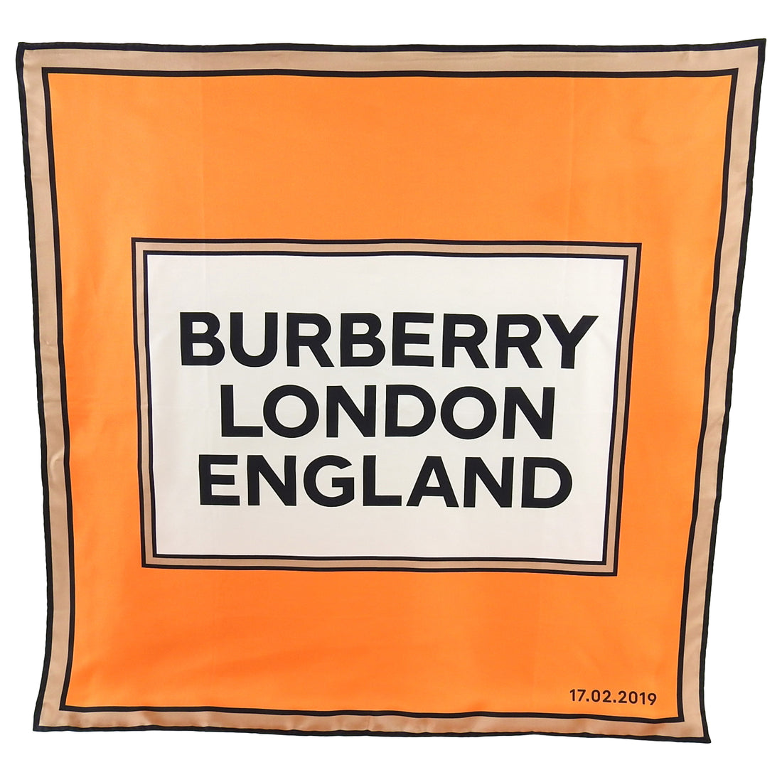 Burberry London Orange Silk 90cm Logo Runway Show Attendee Scarf
