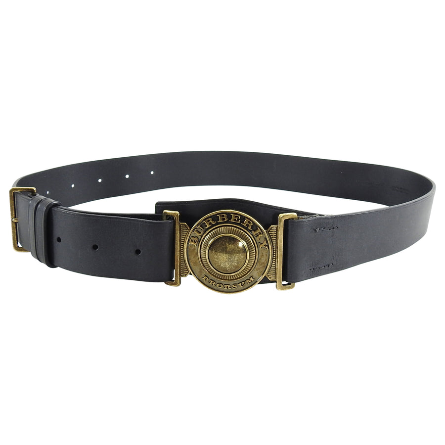 Burberry Prorsum Black Leather and Brass Logo Toggle Buckle Belt
