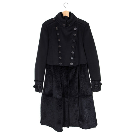 Burberry Prorsum Black Wool and Fur Military Coat – IT46 / USA 10