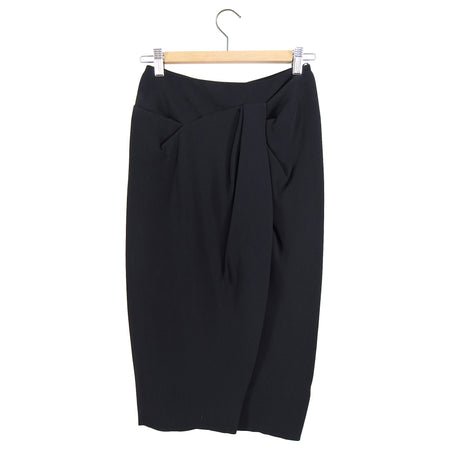 Burberry Prorsum Black Gathered Knee Length Pencil Skirt - IT38 / XS / 2