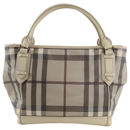 Burberry Smoked Check Coated Canvas Tote Bag
