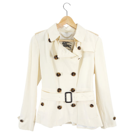 Burberry Cream Silk Short Trench Jacket - USA 4 / S