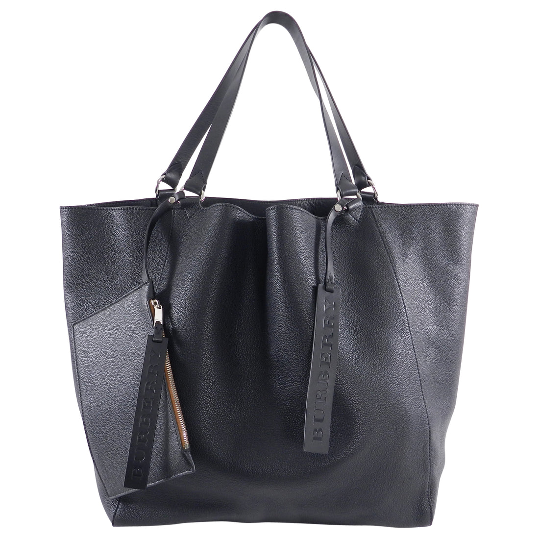 Burberry Extra Large Black Floppy Grained Leather Tote Bag