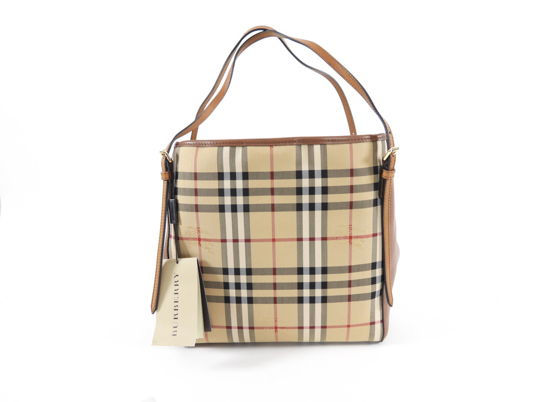 Burberry Horseferry Check Tan Small Canterbury Tote Bag