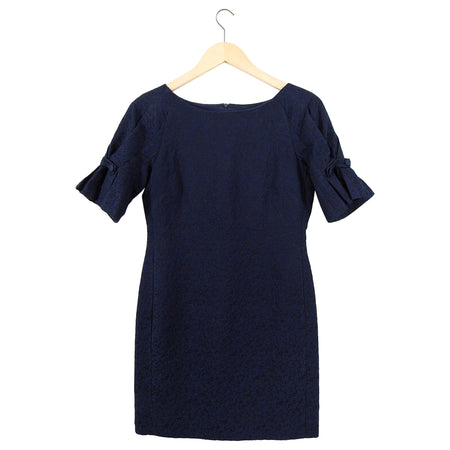 Carolina Herrera Navy Jacquard Short Sleeve Cocktail Dress - 6