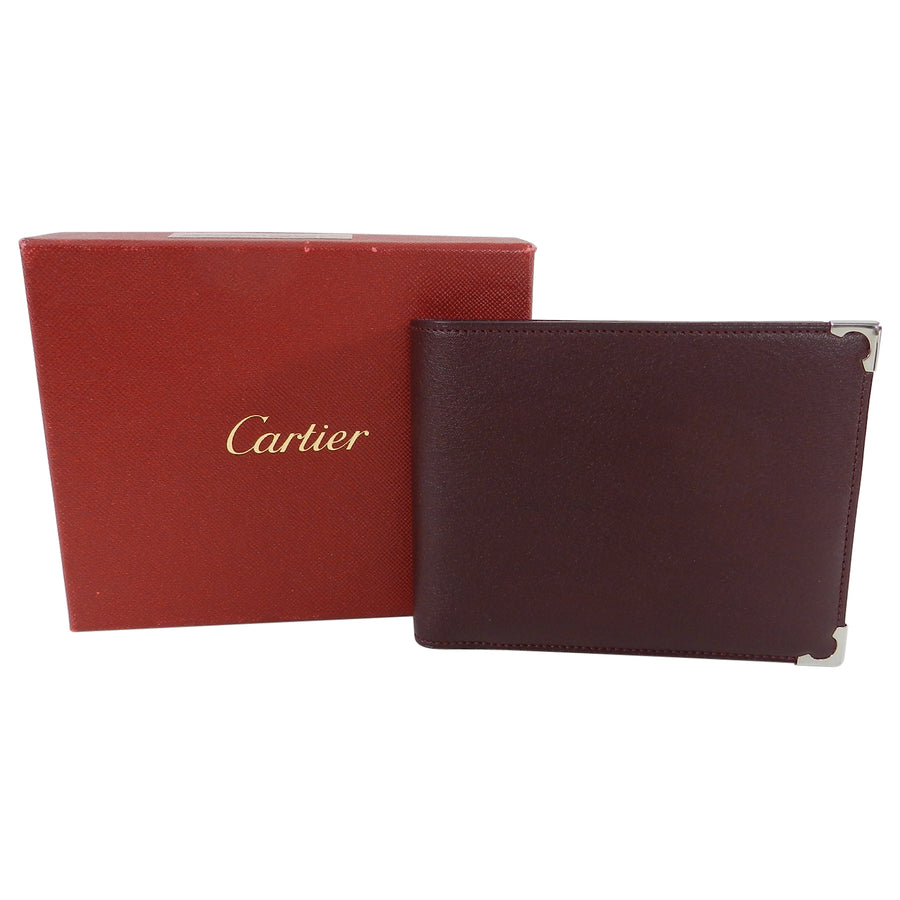Cartier Burgundy bifold Wallet with Silver Corner Caps
