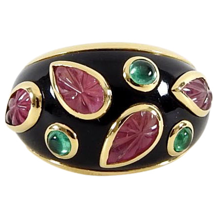 Cartier Vintage 1991 18k gold Tourmaline Emerald Enamel Ring - 49 / 4.75