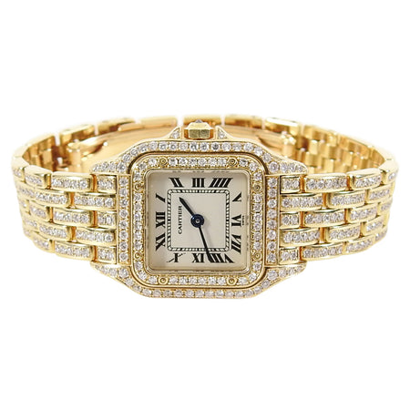Cartier 18K Yellow Gold Mini 25mm Panthere Ladies Diamond Watch