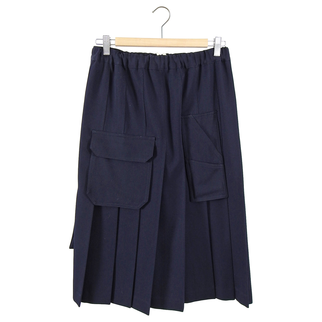 Comme des Garcons Navy Wool Gabardine Pleat Skirt - XS