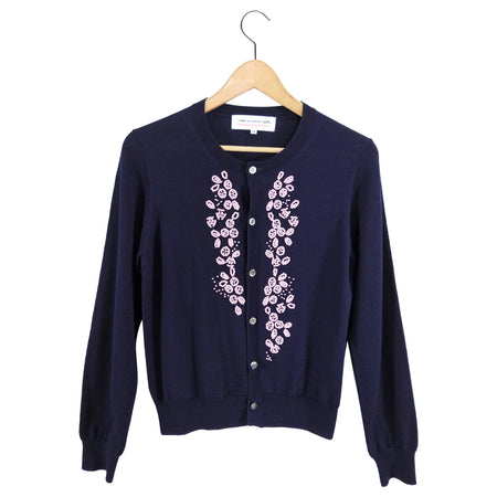 Comme des Garcons Girl Navy Cardigan with Pink Beads - 6