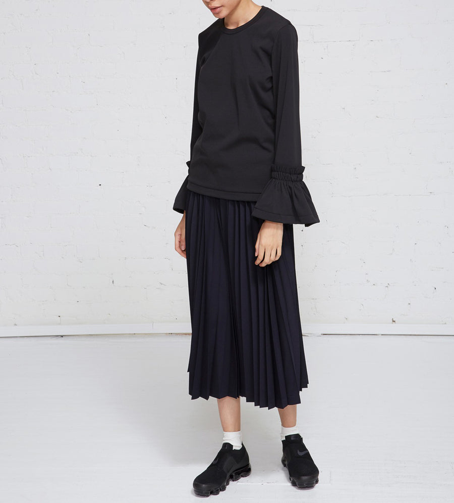 Comme des Garcons Black Shirt with Ruffle Cuffs - L