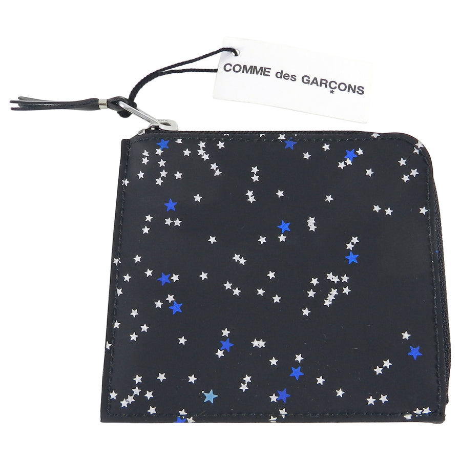 Comme des Garcons Zip Around Wallet with Blue Stars