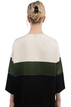 Celine Ivory Green Black Color Block Shift Dress