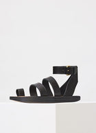 Celine Fall 2016 Black Flat Leather Hiker Sandals - 37