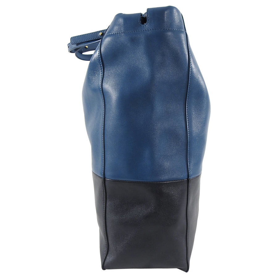 Celine Bicolor Blue Black Drawstring Cabas Tote Bag
