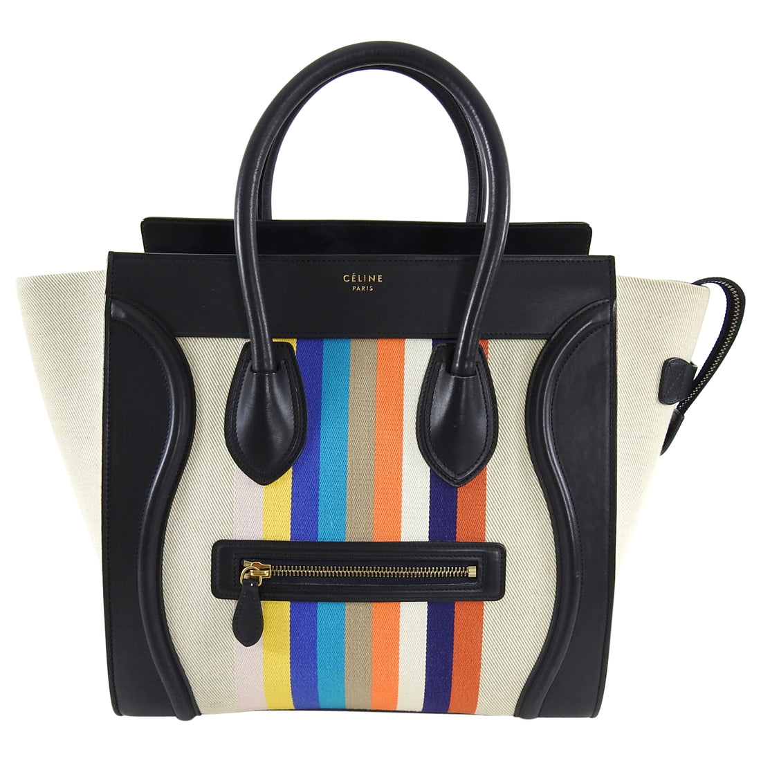 Celine Luggage Mini Tote Striped Canvas and Leather
