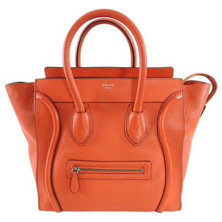 Celine Luggage Mini Tote Orange Leather
