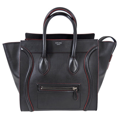 Celine Black and Red Leather Medium Phantom Tote Bag