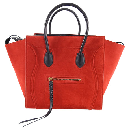 Celine Red Suede and Black Medium Phantom Tote Bag